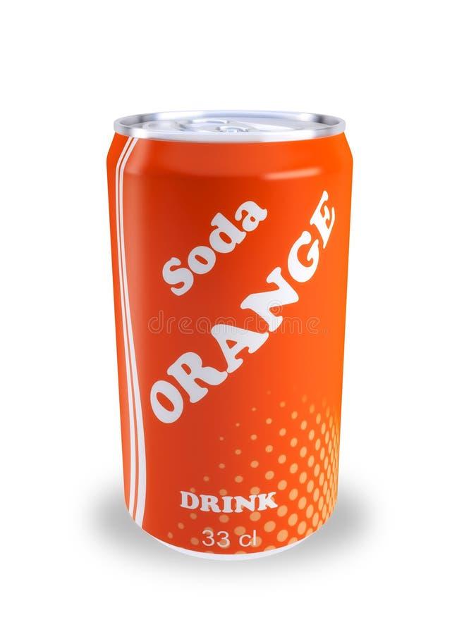 Pode a bebida alaranjada 3D da soda ilustração royalty free