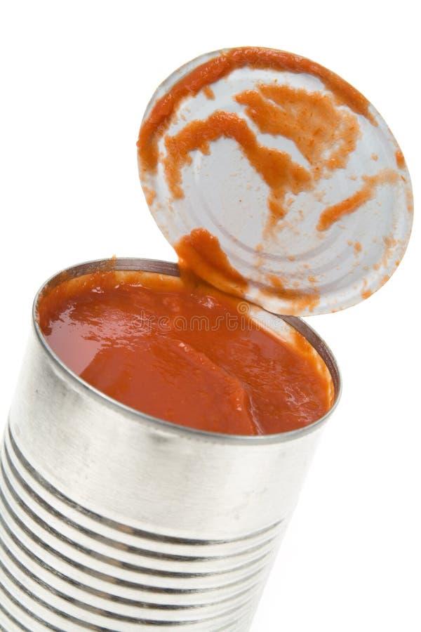 Pode o molho do tomate fotografia de stock royalty free