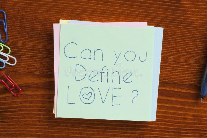 Pode você definir o amor escrito em uma nota foto de stock