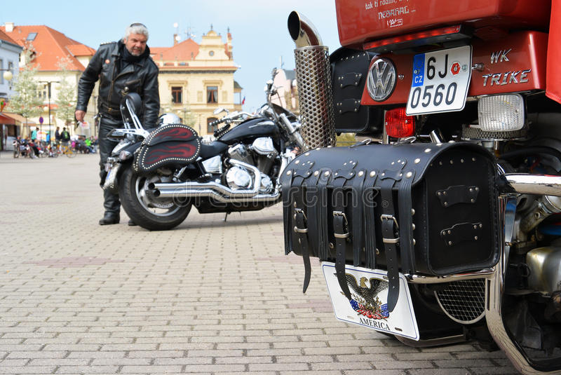 Podebrady Czech republic 04.09.2017 bike on square. Podebrady, Czech republic, 9 April 2017: close up view of motorcycle bike stay on central square royalty free stock images
