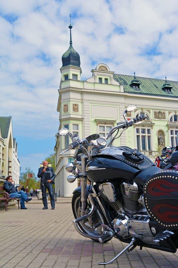 Podebrady Czech republic 04.09.2017 bike on square. Podebrady, Czech republic, 9 April 2017: close up view of motorcycle bike stay on central square royalty free stock photography