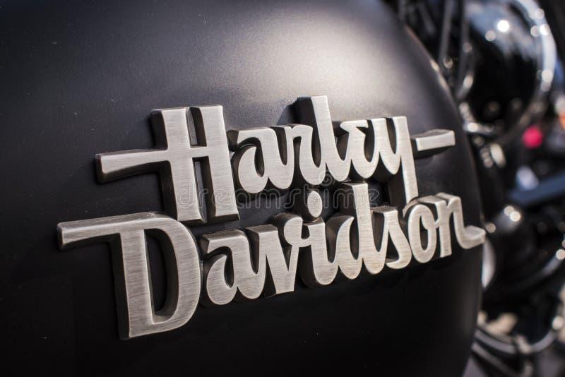 Harley Davidson logo sign on motorcycle reservoir on Czech Motor season opening. royalty free stock image