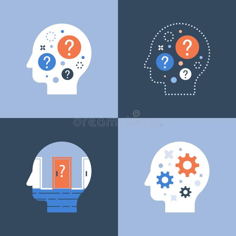 Podejmowanie decyzji, krytyczny główkowanie, brainstorm pojęcie, psychologia lub psychiatria, royalty ilustracja