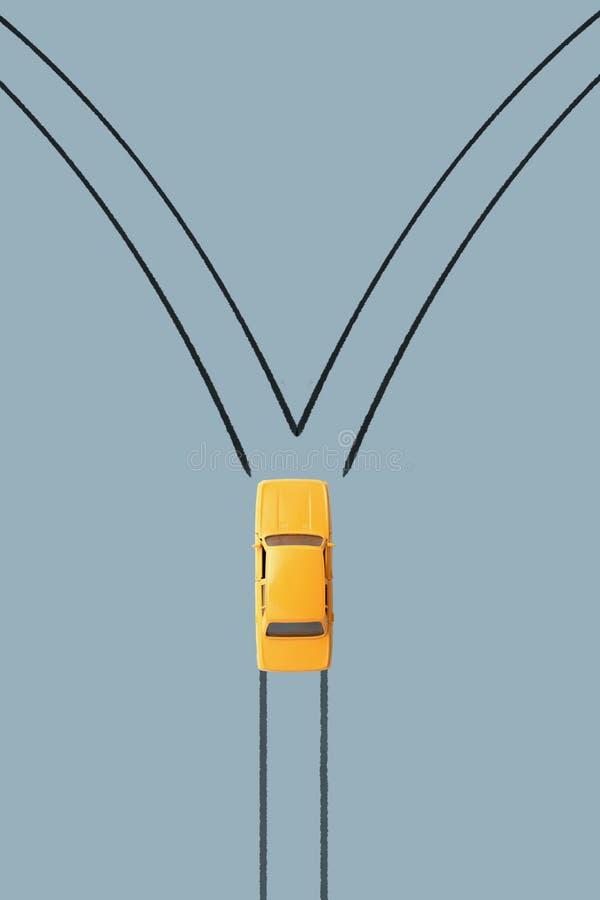 Podejmowanie decyzji samochód wybór kierunek ilustracji