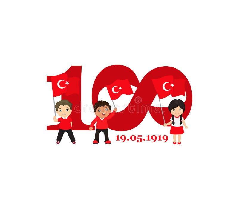 19 podem comemora??o de Ataturk, juventude e ostentam o dia 100th anivers?rio ilustração stock
