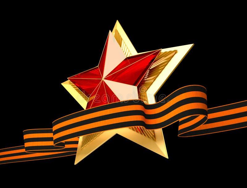 9 podem Dia da vitória Estrela vermelha 3d Fundo isolado imagens de stock royalty free