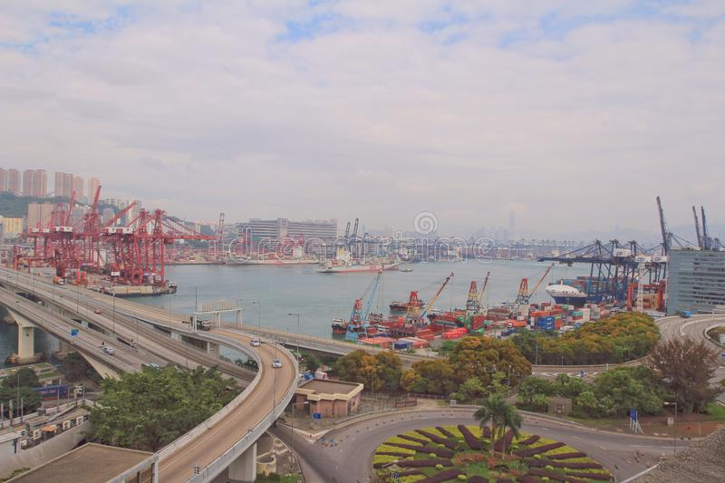 3 podem Kwai 2014 Tsing Container Terminal foto de stock