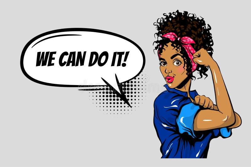 Podemos hacerlo arte pop del poder de la muchacha de la mujer negra libre illustration