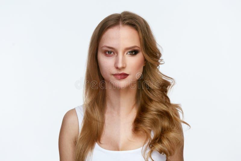 Poder da composição Cara da mulher antes e depois da composição da beleza foto de stock royalty free