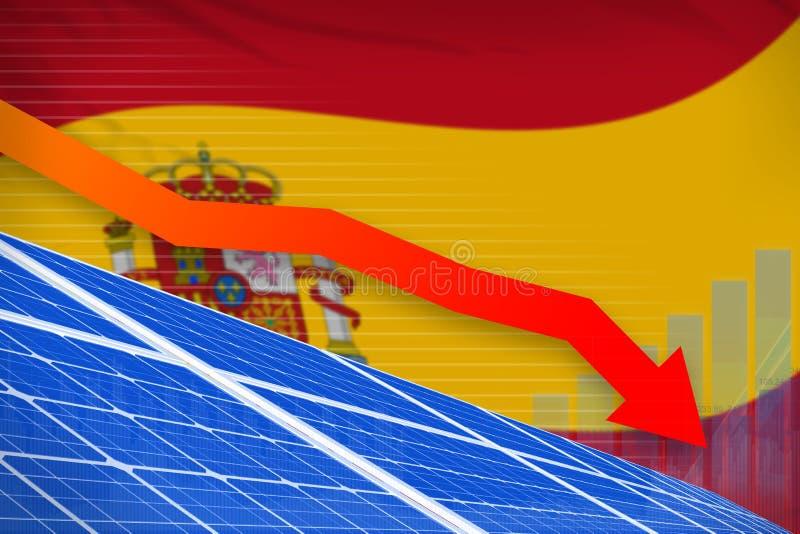 Poder da energia solar da Espanha que abaixa a carta, seta abaixo - da ilustração industrial moderna da energia natural ilustraçã ilustração stock