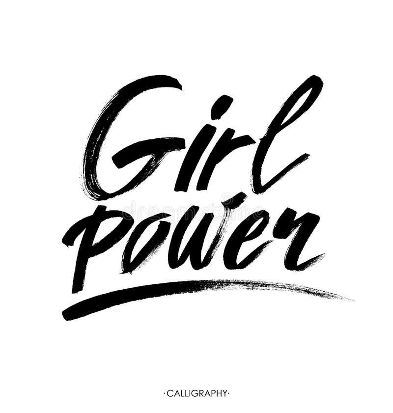 Poder da menina Citações inspiradas, citações do feminismo Rotulação da mão com fundo branco Projeto do vetor ilustração stock