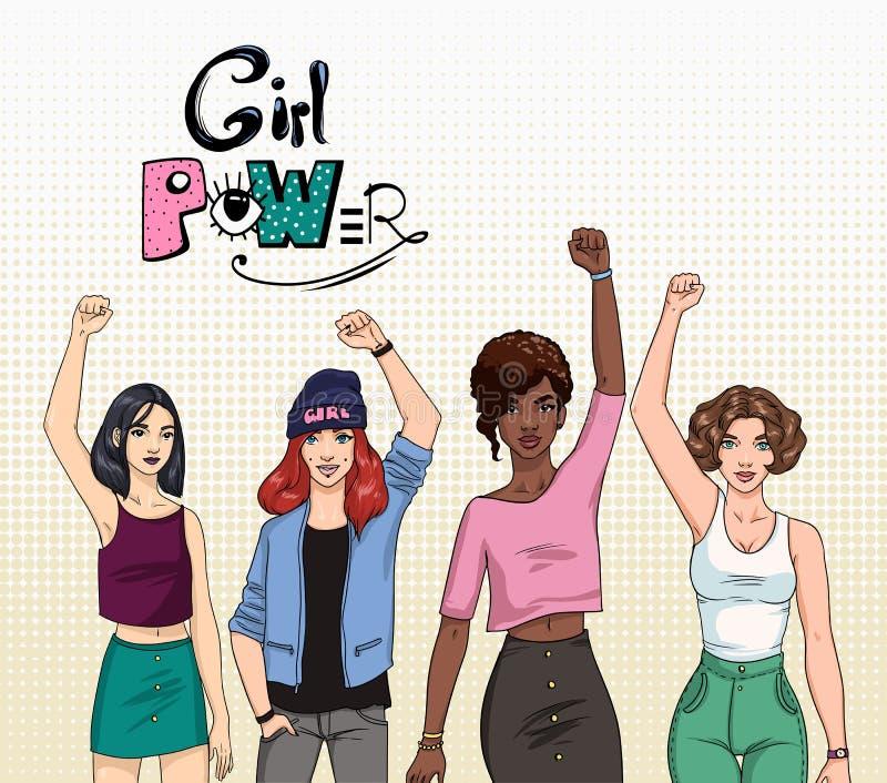 Poder da menina, conceito do feminismo Meninas modernas novas diferentes com mãos acima Ilustração colorida ilustração do vetor