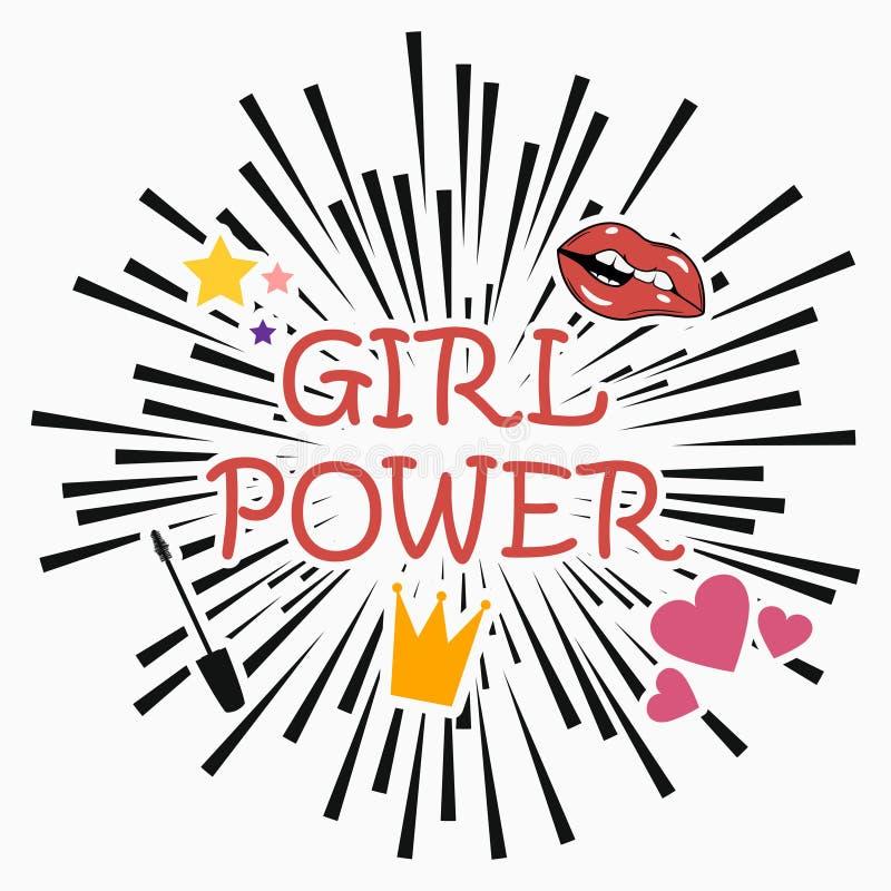 Poder da menina Slogan do feminismo com estrela, bordos, coração, rímel, coroa Cartaz do vetor no fundo cômico da explosão Cópia  ilustração do vetor