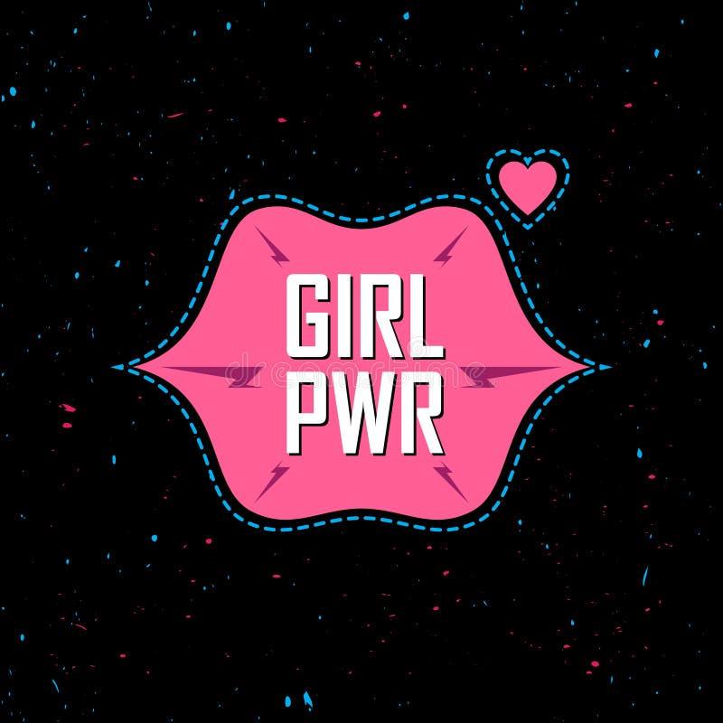 Poder da menina - slogan feminista, patche feminino do divertimento elegante, stic ilustração stock