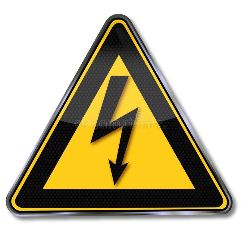 Poder de advertência e relâmpago ilustração stock