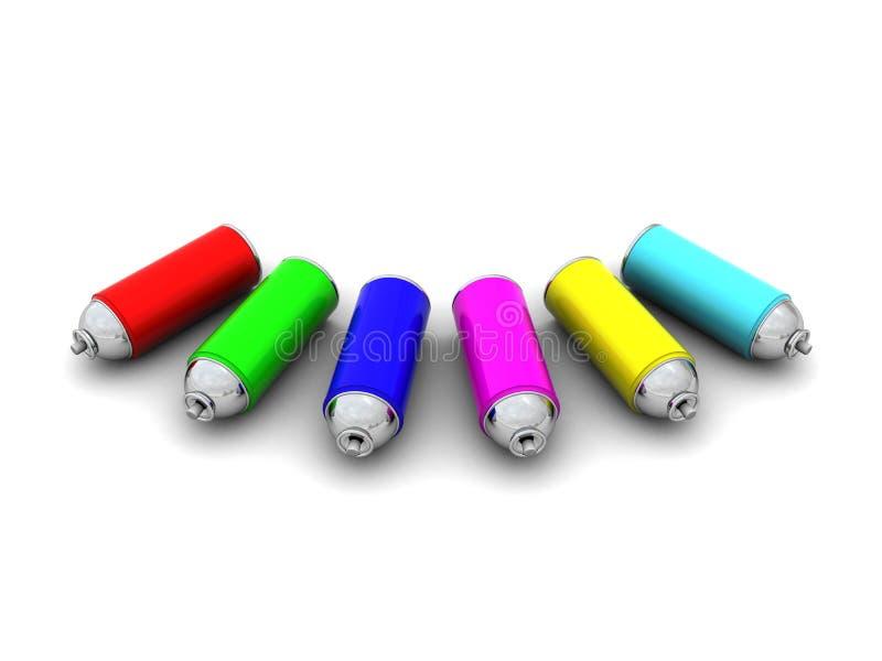Poder de aerosol colorida ilustración del vector