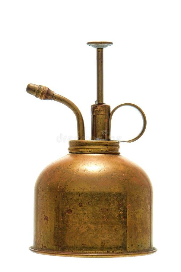 Poder de aerosol de cobre amarillo de riego de la planta de la antigüedad foto de archivo