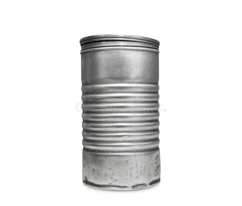 Poder de aluminio vieja de leche en polvo aislada en el fondo blanco imagenes de archivo