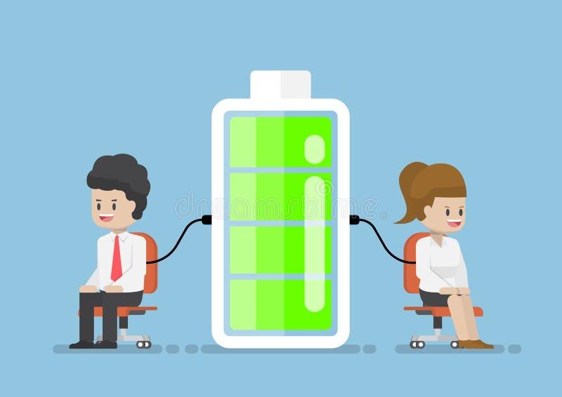 Poder de Character Charging Energy del hombre de negocios de la batería ilustración del vector