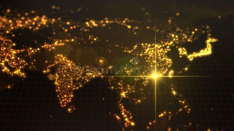 Poder de China, haz de energía en Hong Kong mapa oscuro con las ciudades iluminadas y las áreas humanas de la densidad ilustració stock de ilustración