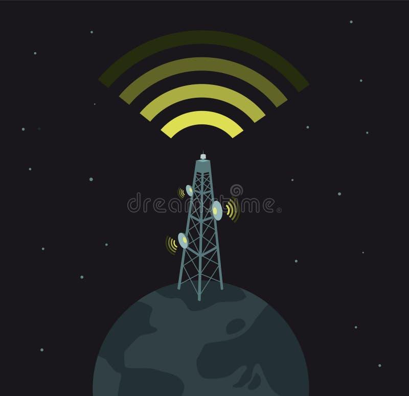 Poder de comunicaciones/dominación del mundo stock de ilustración