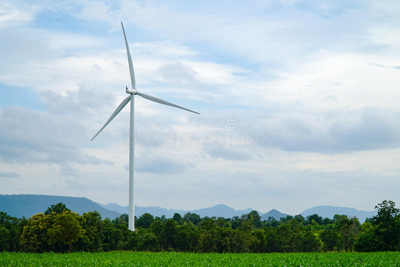 Poder de Eco de las turbinas de viento con el prado verde foto de archivo