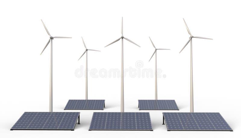Poder de Eco, granja de la turbina de la energía renovable, de viento y los paneles de la célula solar aislados en el fondo blanc libre illustration