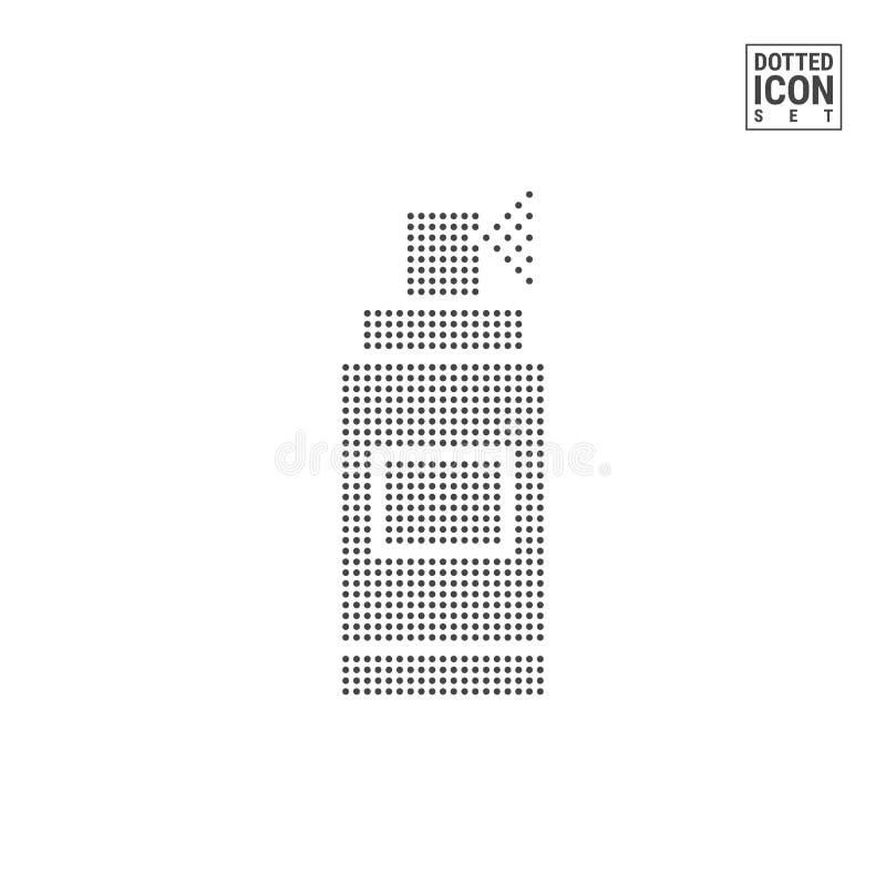 Poder de espray Dot Pattern Icon Icono punteado de la poder de espray aislado en el fondo blanco Icono del vector de la botella d libre illustration
