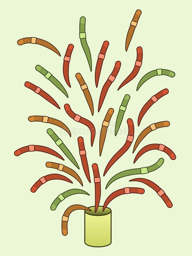 Poder de gusanos ilustración del vector