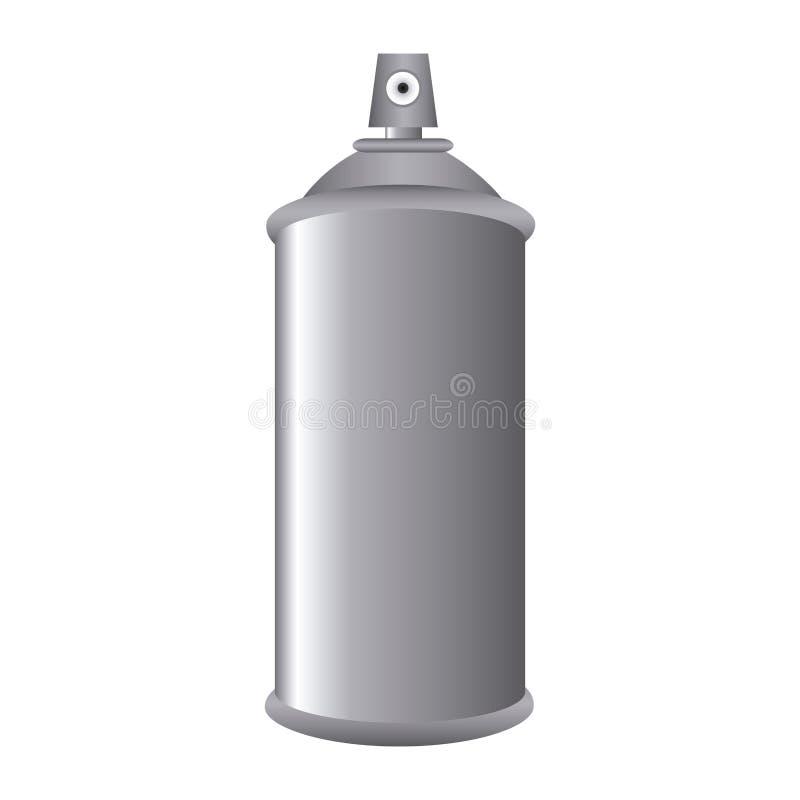 Poder de la botella de Gray Aerosol Spray Metal 3D stock de ilustración