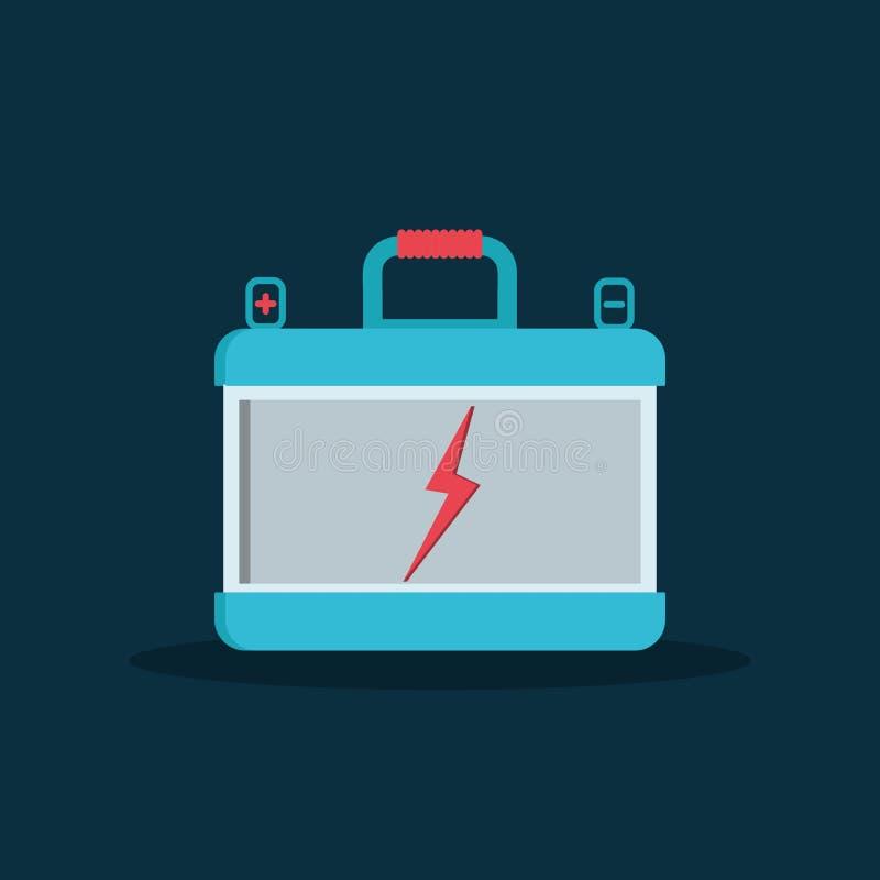 Poder de la fuente eléctrica de las piezas de automóvil del coche del acumulador de batería en estilo plano ilustración del vector