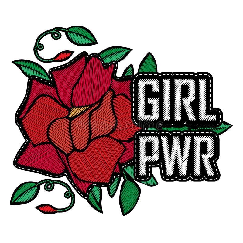 Poder de la muchacha - insignia o remiendo de la moda Bordado Rose con las hojas libre illustration