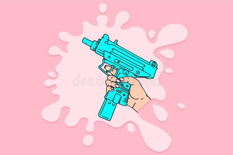 Poder de la mujer, mujer con tec-9 a disposición, ejemplo del vector de la historieta en concepto de diseño rosado del fondo stock de ilustración