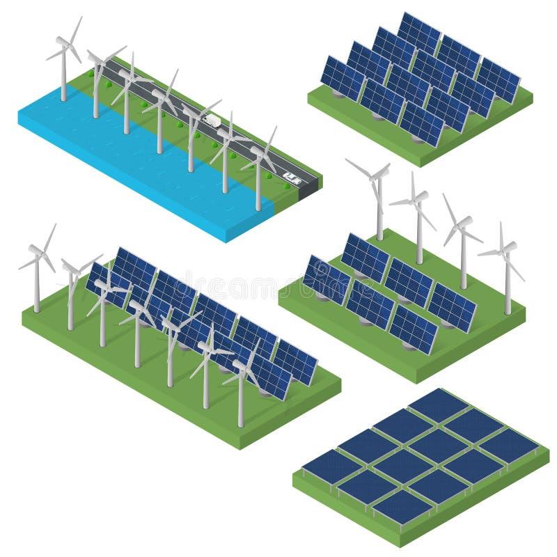 Poder de la turbina de viento Concepto isométrico de la energía limpia stock de ilustración