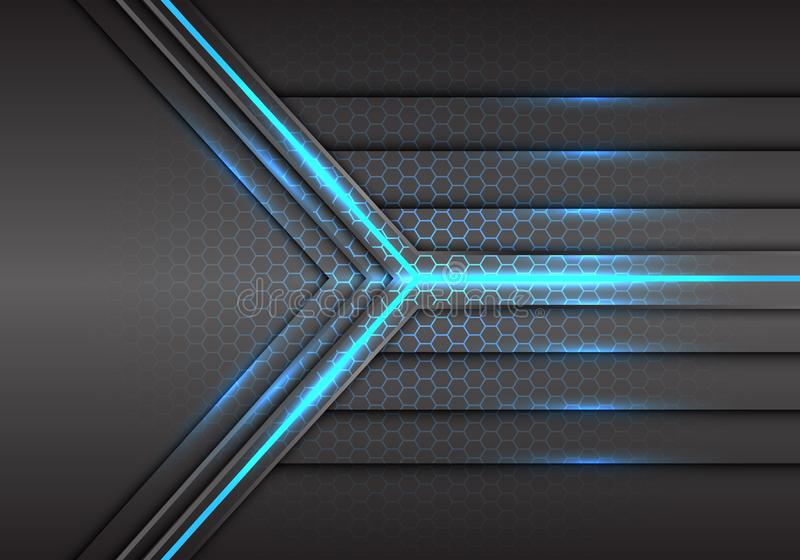 Poder de rayo láser de la luz azul abstracta de la flecha con vector futurista del fondo de la tecnología moderna del diseño del  stock de ilustración