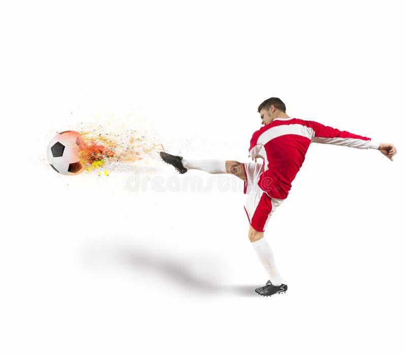 Poder del futbolista imagen de archivo libre de regalías