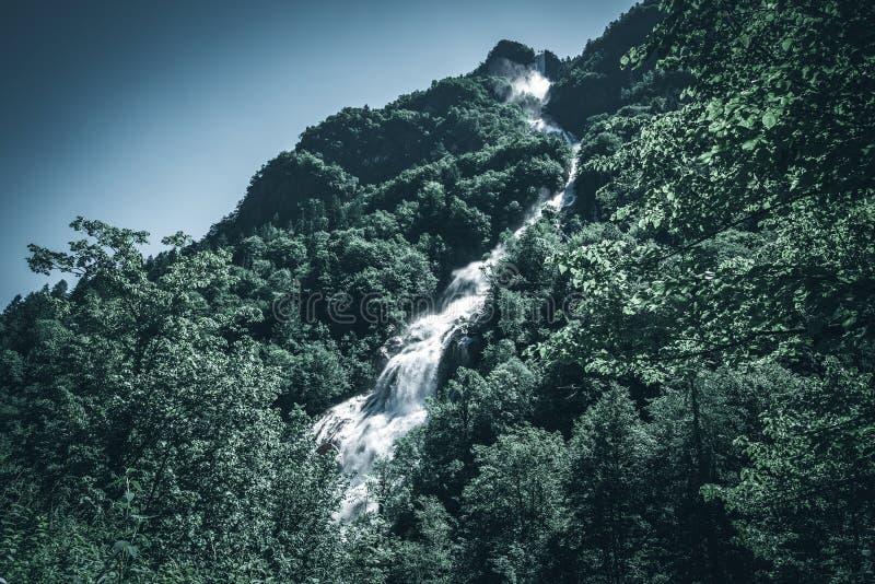 Poder de una imagen oscura del estilo del humor del agua de la cascada imagenes de archivo