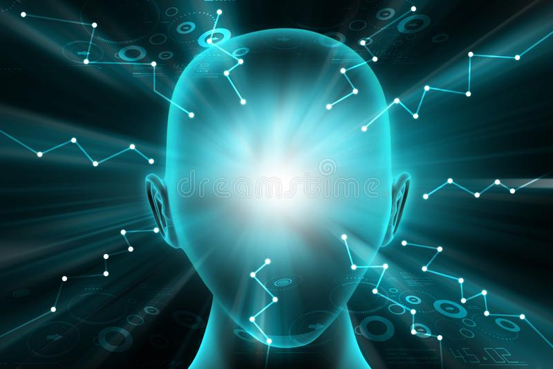 Poder del concepto interno del pensamiento stock de ilustración