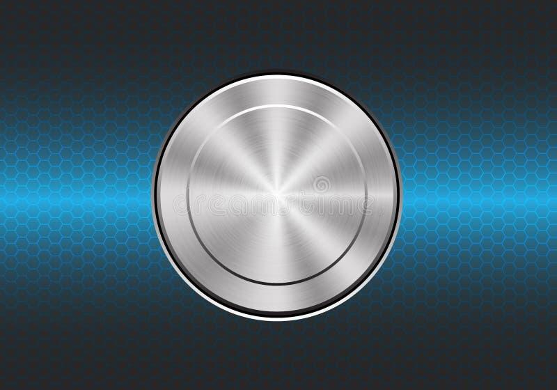 Poder del control del interruptor del botón del metal de la tecnología en vecto moderno del fondo del hexágono del diseño azul de libre illustration