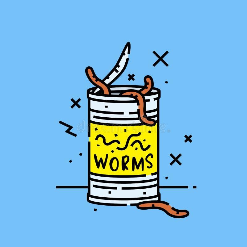 Poder del icono de los gusanos stock de ilustración