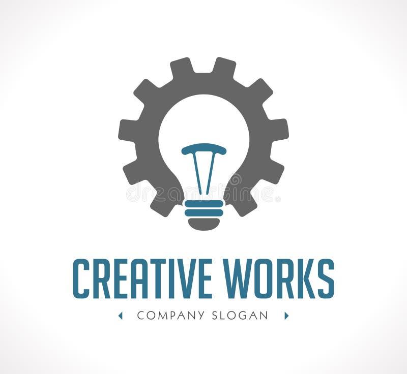Poder del logotipo de la creación - concepto de los engranajes de funcionamiento y de la bombilla stock de ilustración