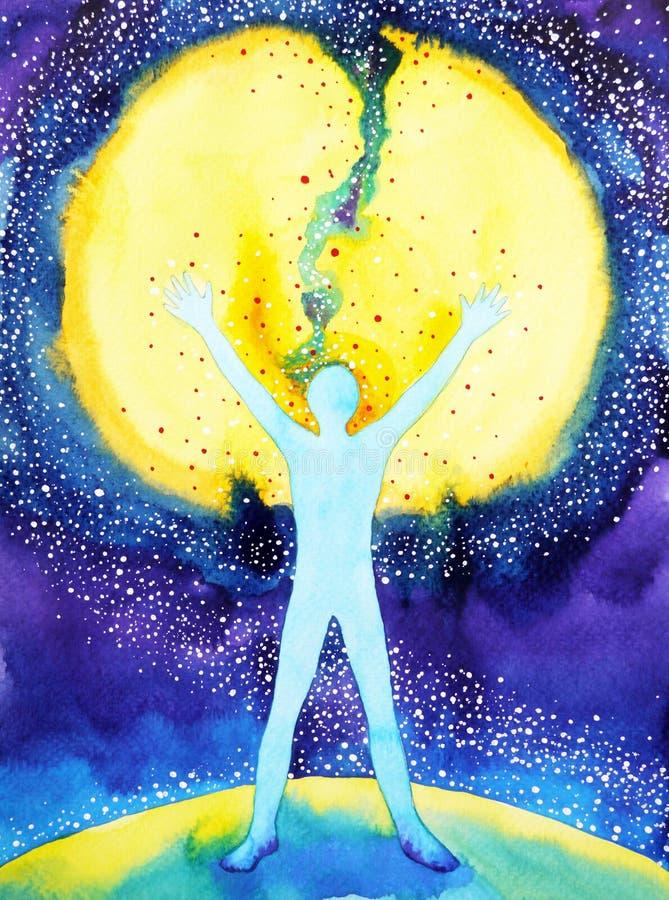 Poder del ser humano y del universo, pintura de la acuarela, 7 de reiki de la yoga del chakra stock de ilustración