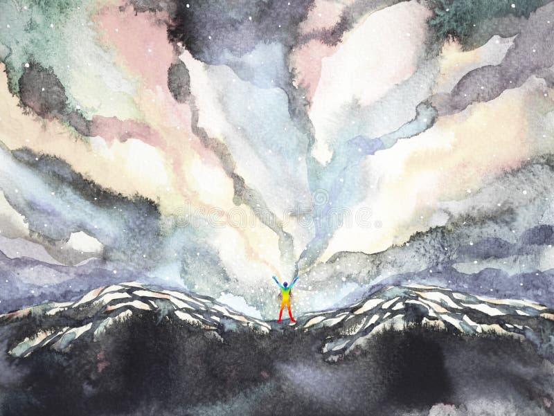 Poder del ser humano y del universo, pintura de la acuarela, extracto de la inspiración, universo del mundo dentro de su mente stock de ilustración