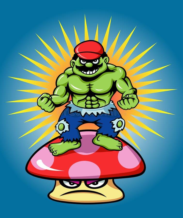 Poder do gigante e do cogumelo verdes ilustração royalty free