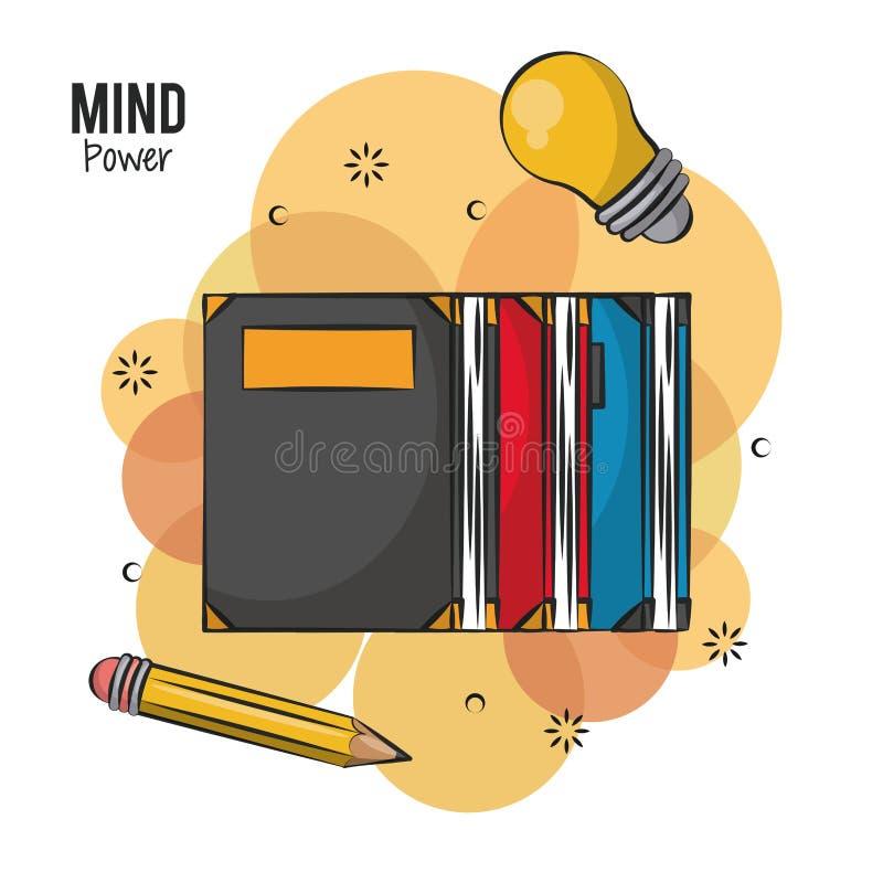 Poder e cérebro da mente ilustração do vetor