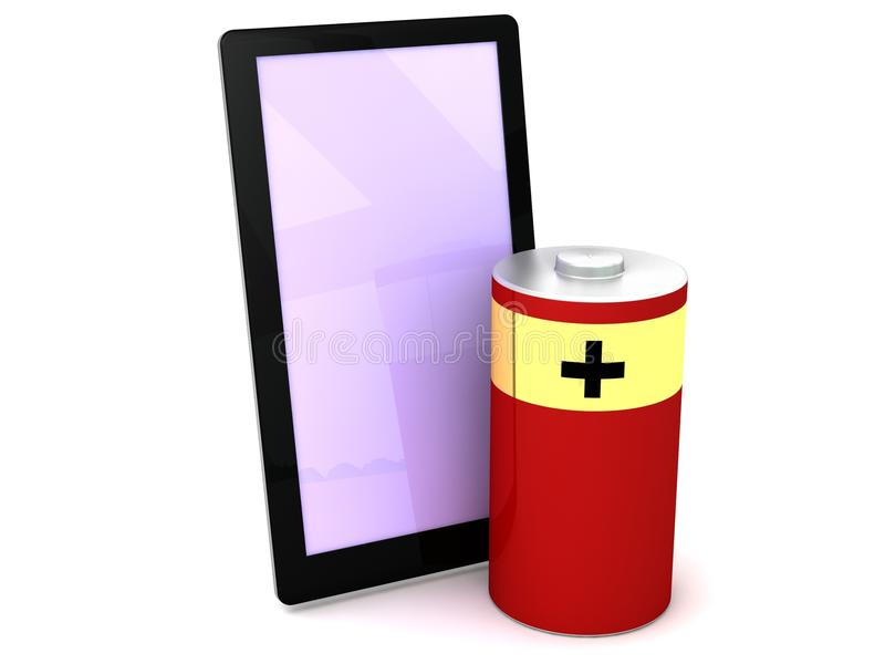 poder elegante del acumulador alcalino del teléfono 3D stock de ilustración