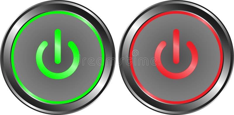 Poder en el metal del botón rojo del verde y del poder apagado ilustración del vector