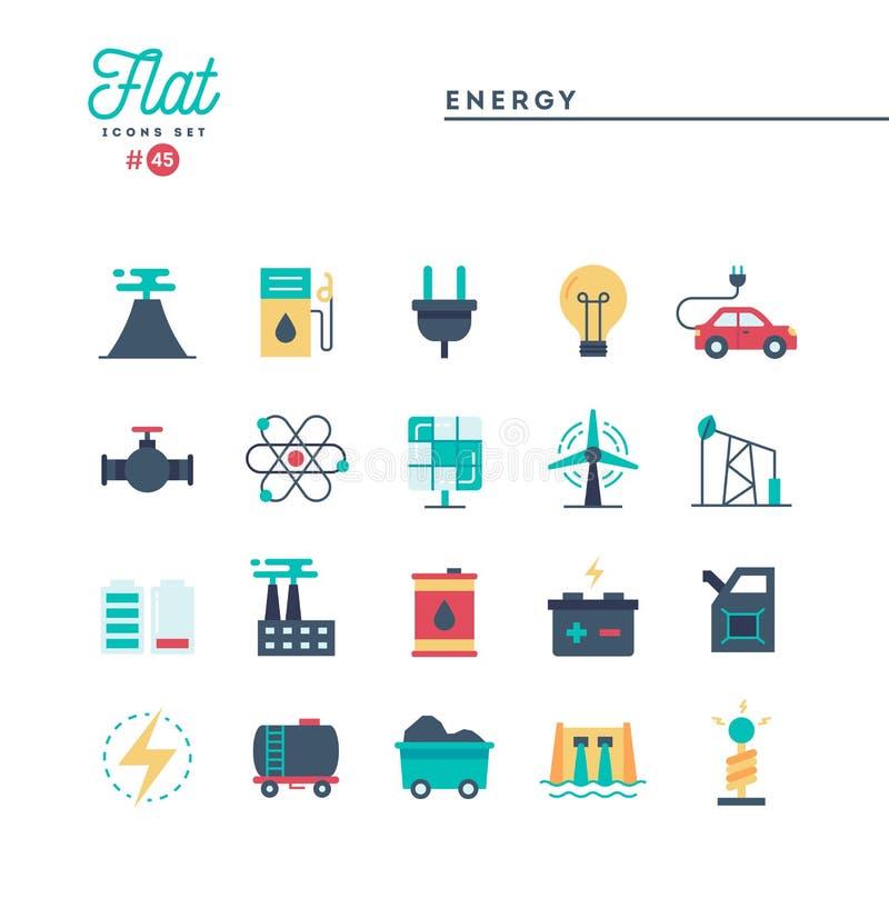 Poder, energía, producción de electricidad y más, iconos planos fijados ilustración del vector