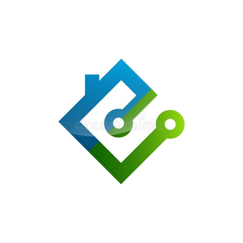 Poder esperto da energia elétrica da eletricidade do ícone do logotipo da casa ilustração royalty free