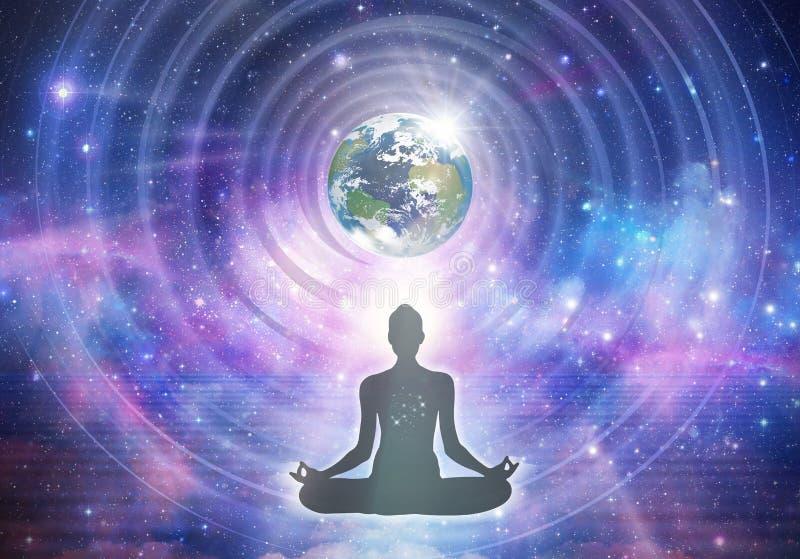 Poder espiritual de cura de energia, conexão, despertar de consciência, meditação, expansão ilustração do vetor